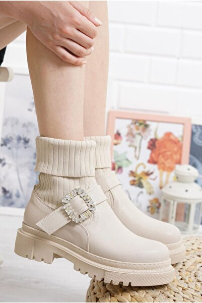 DENORA Nude Krem Bej Vizon Taşlı Çorap Triko Bot