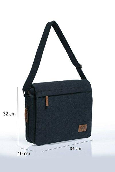 By Hakan Unisex Kanwas Laptop Bölmeli Postacı Çanta Siyah Gk12