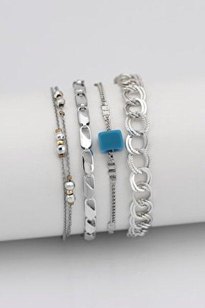 Kadın Gümüş Mavi Boncuklu Kombin Bileklik 4'lü 004