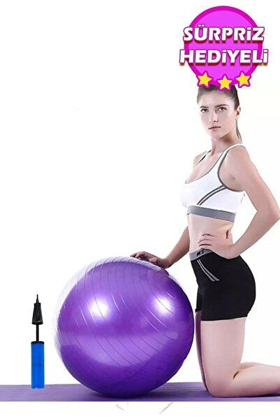AYLA STAND 65 Cm Fitilli Pilates Topu Ve Pompa Seti Plates Denge Yoga Spor Egzersiz Top Jimnastik Fitness Gym