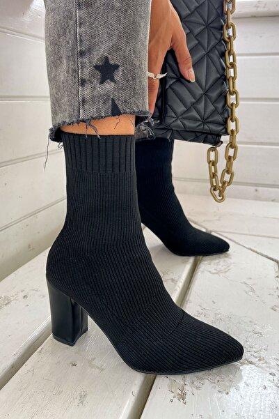 yiğit aksesuar Kadın Triko Topuklu Bot Ayakkabı Çorap Şeritli