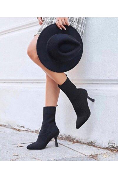 Afilli Kadın Siyah Triko Sivri Burun Kadeh Topuk Bot Şık Çorap Streç Slip On Günlük Ayakkabı