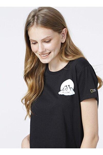 NATIONAL GEOGRAPHIC Bisiklet Yaka Siyah Baskılı Kadın T-shirt