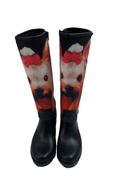 Yetkin Kadın Siyah Kedi Figürlü Çizme 8698156633054