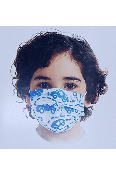 PAULMARK Desenli Çocuk Maskesi 3 Katlı Lastikli 10'lu Paket