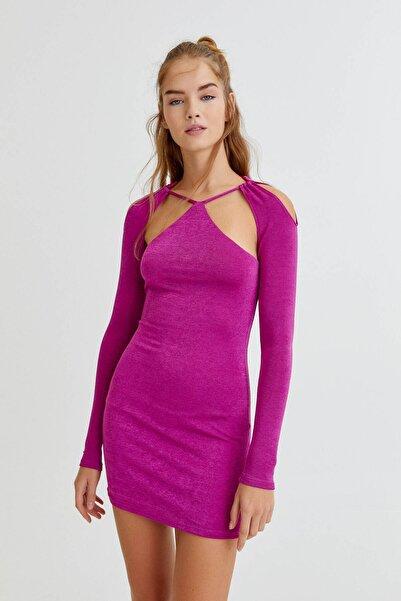 Pull & Bear Uzun Kollu Pencere Detaylı Elbise