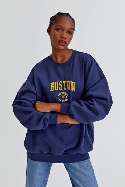 Pull & Bear Kontrast İşlemeli Oversize Sweatshirt
