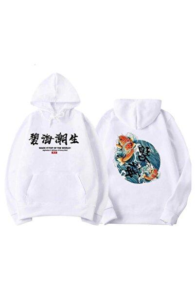 Oksit Byrne Koi Fish Baskılı Iki Iplik Oversize Unisex Sweatshirt