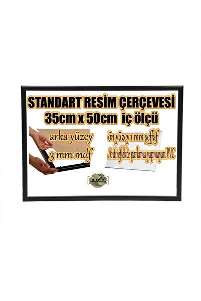 mixefor Standart Boş Çerçeve - 35cm X 50cm Iç Ölçü -renk Siyah -arka Yüzey Mdf- 1mm Antireflekte Mat Pvc
