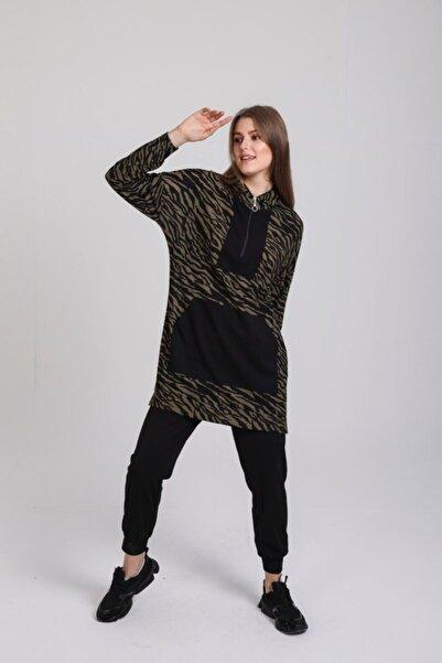 Orhan Kanguru Cepli Örme Tunik Pantolon Takım - Siyah-haki
