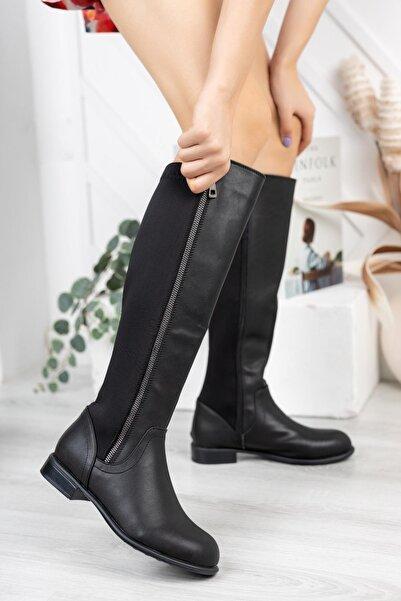 Nar Kadın Siyah Dalgıç Kumaş Esnek Çizme 69 K504