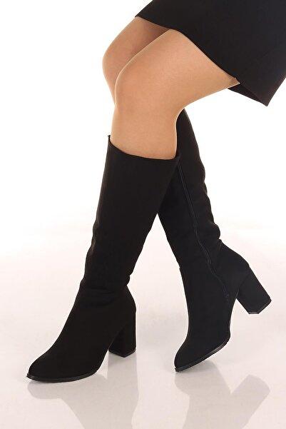 SOBY SHOES Kadın Günlük Fermuarlı Süet Diz Altı Topuklu Bot Ve Çizme Soby11070005