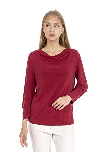 GİA&CI Kadın Bordo Renk Büzgülü Yaka Önden Detaylı Kol Büzgülü Uzun Kol T-shirt