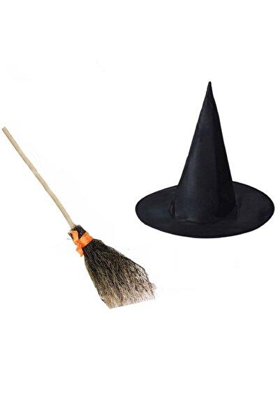 Partini Seç Halloween Cadı Süpürgesi Ve Siyah Cadı Şapkası, Kostüm Partisi Cadı