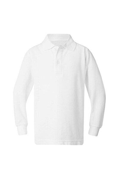 ümitteks iş ve okul kıyafetleri Unısex Penye Polo Yaka Uzun Kollu Beyaz Tişört Çocuk/yetişkin