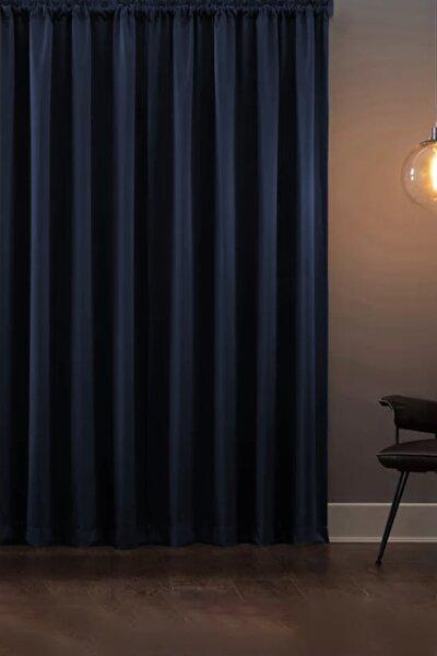 Asper Blackout Işık Geçirmez Fon Perde V-13 Lacivert Pilesiz Ekstraforlu Karartma Güneşlik