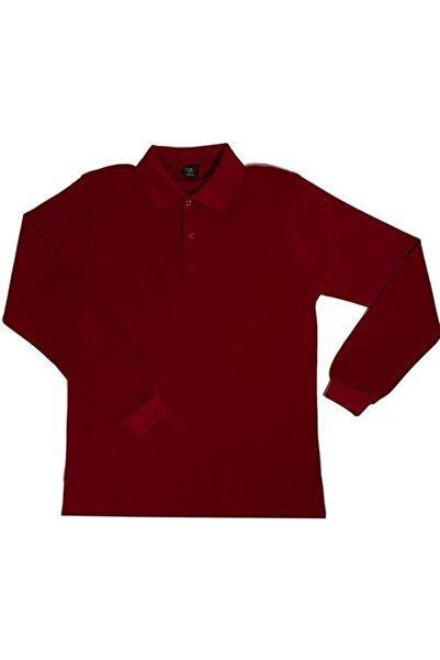 ümitteks iş ve okul kıyafetleri Unısex Penye Polo Yaka Uzun Kollu Bordo Tişört Çocuk/yetişkin