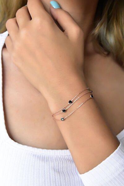 Papatya Silver 925 Ayar Gümüş Rose Kaplama Üç Sıra Siyah Taşlı Zincir Bileklik
