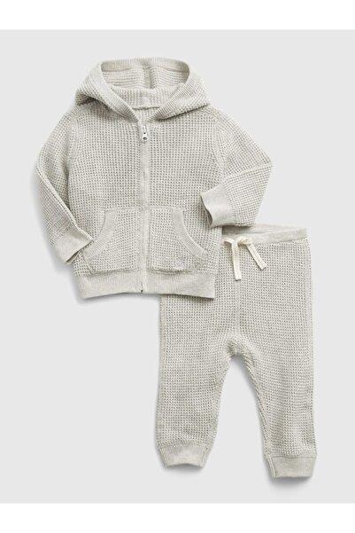 GAP Erkek Bebek Gri Waffle Örgü Kapüşonlu Outfit Set