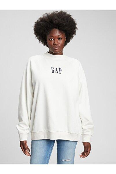 GAP Kadın Beyaz Logo Sweatshirt