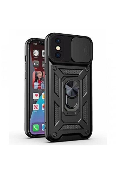 Times Bazaar Iphone X Max / Xs Max Uyumlu Sürgülü Kamera Korumalı Zırh Tank Telefon Kılıfı - Siyah