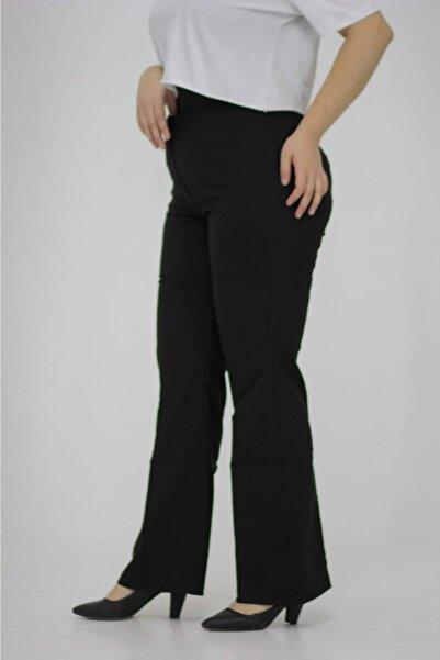 Truva XXL Büyük Beden Kadın Giyim Ön Ve Arka Sahyte Cep Detaylı Yüksek Bel Ispanyol Paça Pantolon Siyah