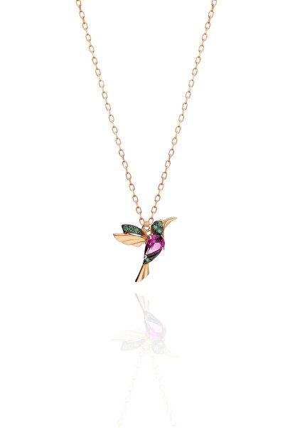 Papatya Silver 925 Ayar Gümüş Rose Kaplama Ruby Renkli Kuş Kolye