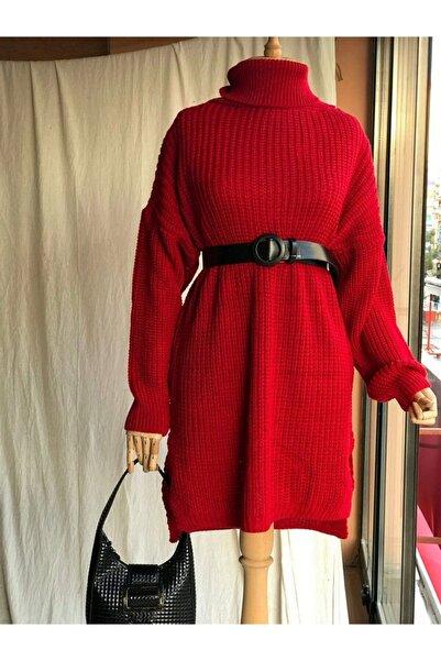 Hepsi Moda Aş Selanik Tunik Triko - Kırmızı