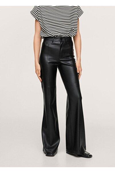 MANGO Woman Deri Görünümlü Wideleg Pantolon