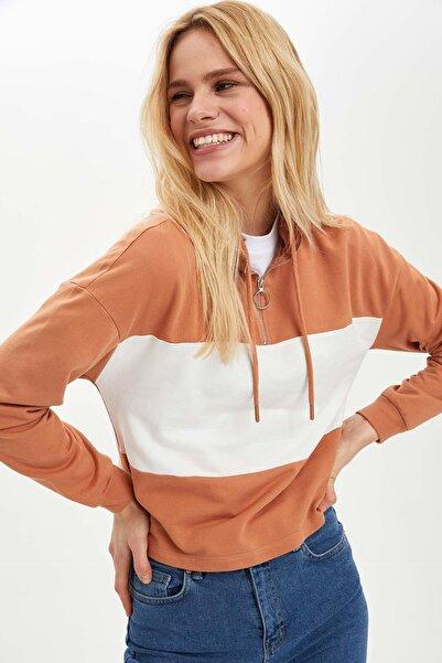 DeFacto Regular Fit Cepsiz Uzun Kollu Sweatshirt