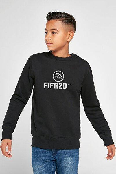 QIVI Unisex Çocuk Siyah Fıfa 2020 Baskılı  Sweatshirt