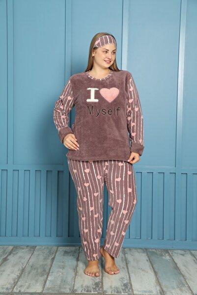 shopshop Kadın Well Soft Büyük Beden Polar Peluş Pijama Takımı-20086