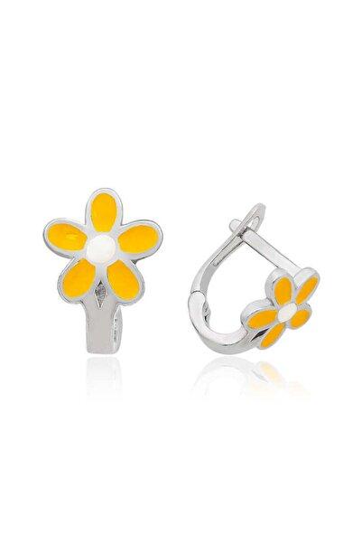 Gumush ?Gümüş Sarı Çiçek Çocuk Küpesi