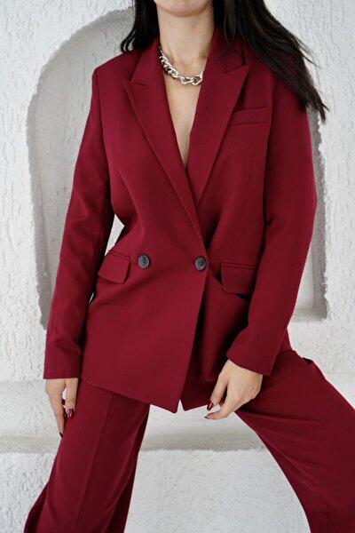 Eka Kadın Bordo Iki Düğmeli Blazer Ceket 0993-2112