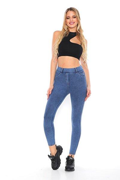 Alışveriş Sokağı Kadın Mavi Kot Görünümlü Yüksek Bel Tayt