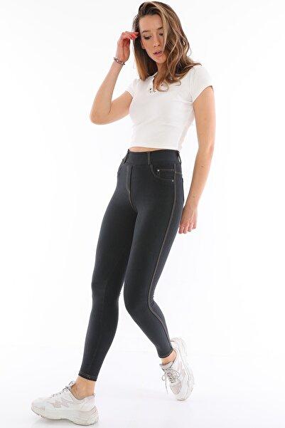 Alışveriş Sokağı Kadın Antrasit Kot Görünümlü Yüksek Bel Tayt