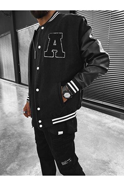 ablukaonline Erkek Adambo Oversize Kolej Ceket Siyah
