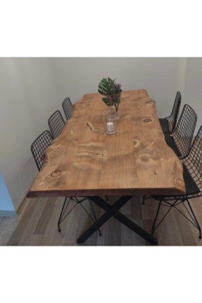 AVVİO Arzu 6 Kişilik Kütük Yemek Masası Takımı-mutfak Masası Takımı-doğal Ağaç