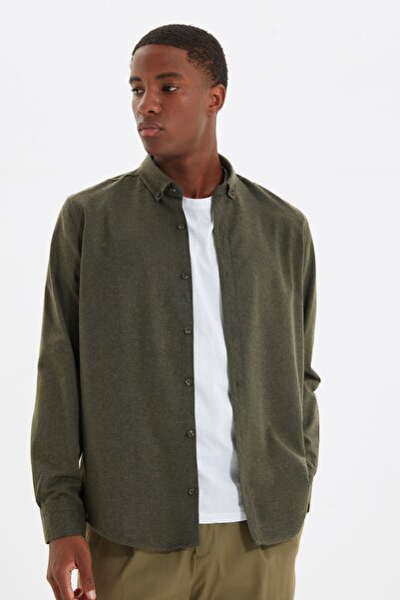 TRENDYOL MAN Yeşil Erkek Slim Fit Gömlek Yaka Gömlek TMNAW20GO0094