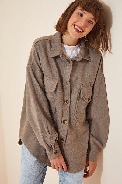 Happiness İst. Kadın Vizon Oversize Kaşe Gömlek Ceket YM00144