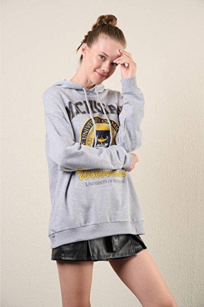 Zechka Gri Kapüşonlu Baskılı Oversize Sweatshirt (zck0321)