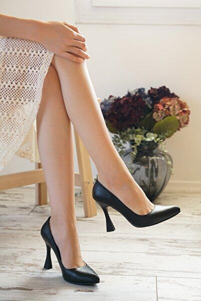 lmn ayakkabı Lmn Siyah Cilt Stiletto Kadeh Ökçe Ince Topuk Ayakkabı