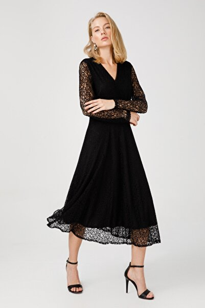 Ekol Kadın V Yaka Dantel Elbise