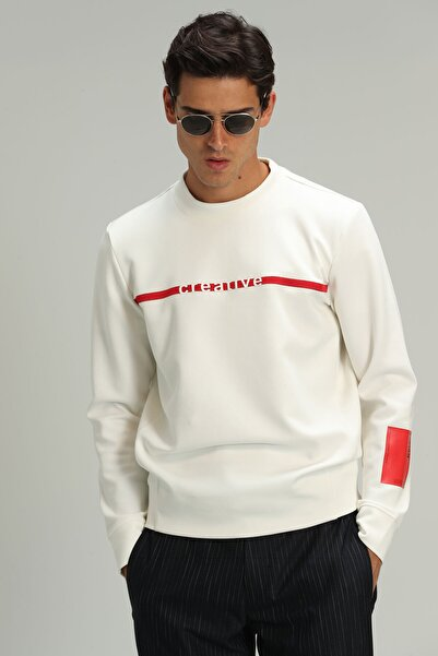 Lufian Based Erkek Sweatshirt Kırık Beyaz