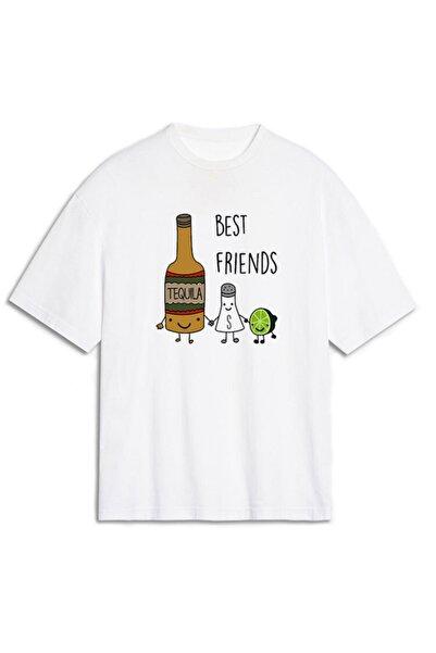 TisortFabrikasi Best Friends Desenli Unisex Oversize Tişört Oversize T-shirt