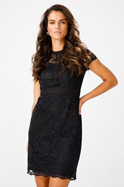 Ekol Kısa Kol Güpür Elbise-1033