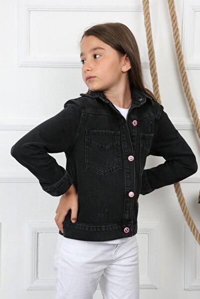 Enisena Kız Çocuk Siyah Arkası Baskılı Kot Jean Çeket