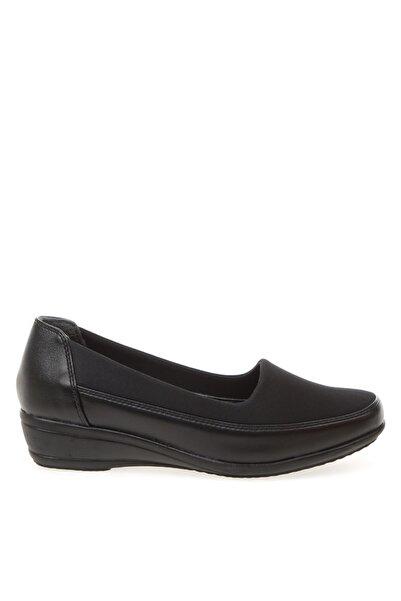 Cotton Bar Siyah Deri + Suni Deri Düz Ayakkabı