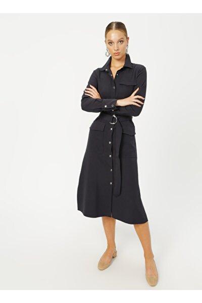 Fabrika Gömlek Yaka Düz Lacivert Kadın Elbise