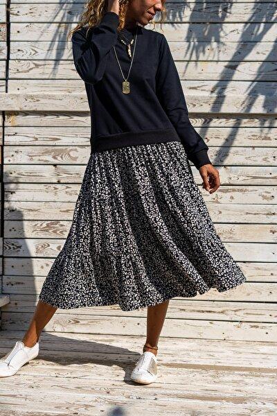 Güneşkızı Kadın Siyah Altı Kiloş Etek Üstü Sweatshirt Elbise GK-TD2015